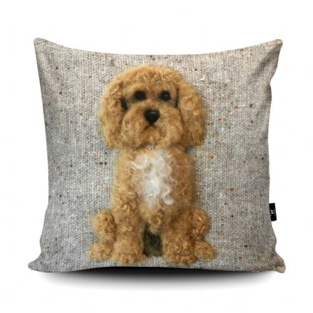 Cockapoo Dog Print vegan faux suede cushion with a Fibre Inner by Sharon Salt